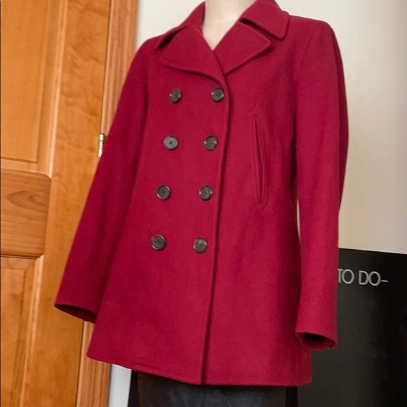 J. Crew Red Wool Peacoat Coat Size M